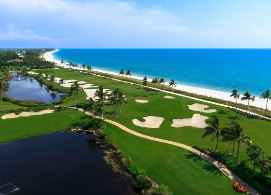 An aerial view of a golf course at South Seas.