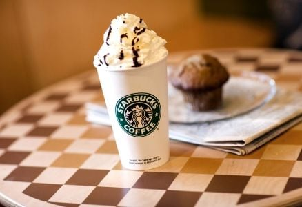 A Starbucks drink topped with whipped cream.
