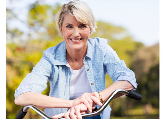 Senior Woman Riding Bike