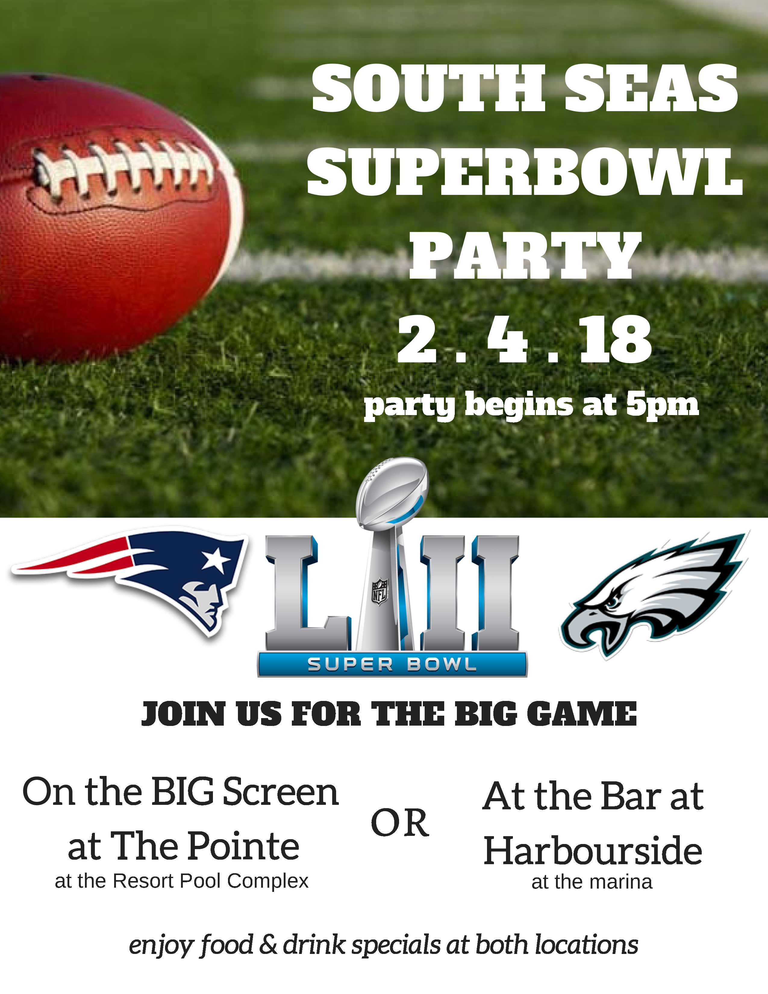 JOIN US FOR A SUPERBOWL PARTY