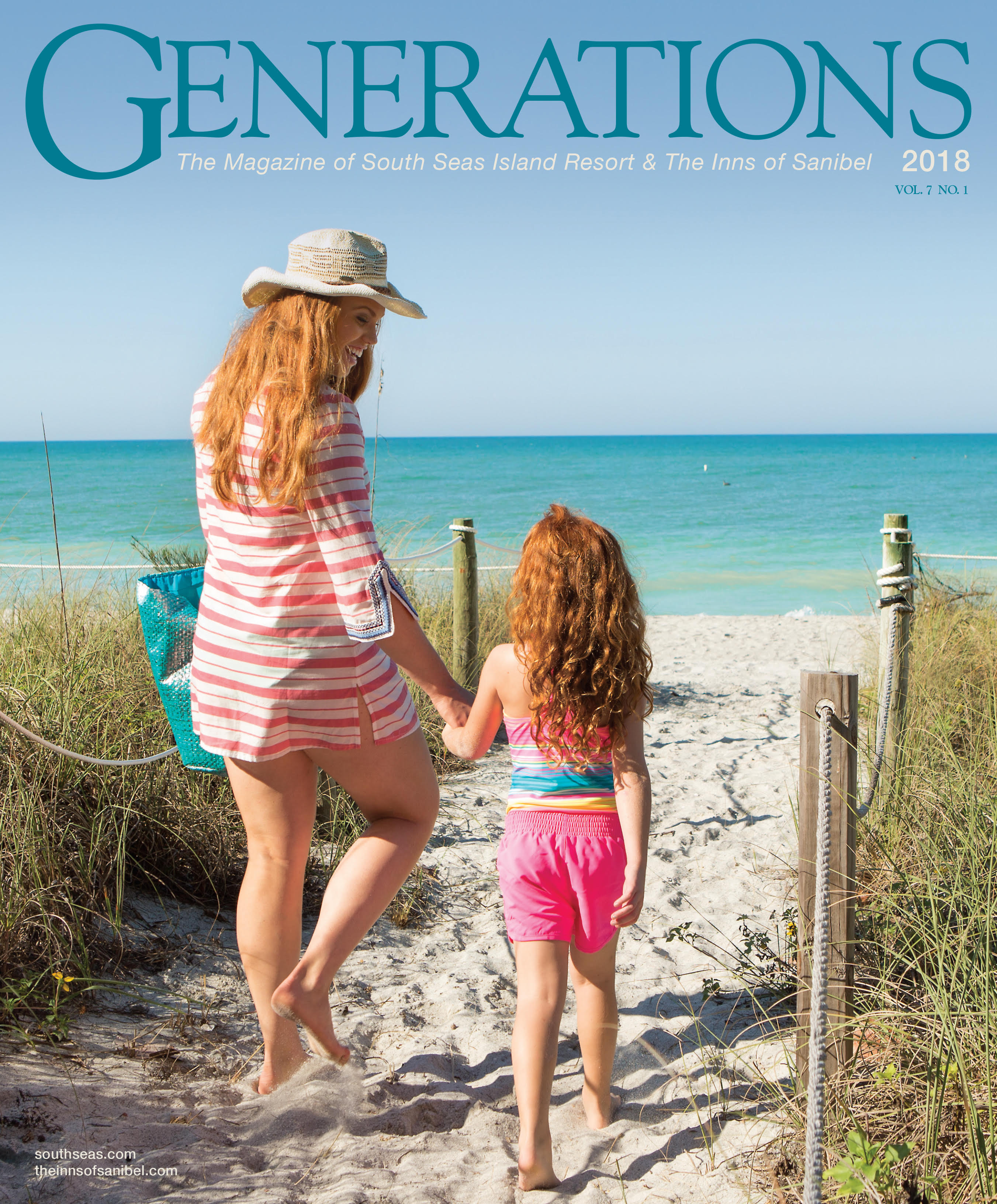 Magazine Cover Depicting Mother and Child Walking to the Beach