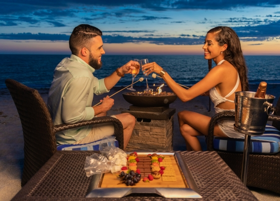 Couple on Beach with Smores